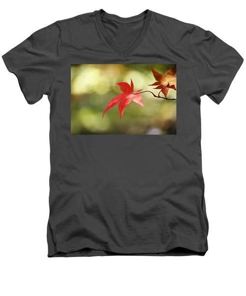 Men's V-Neck T-Shirt featuring the photograph Red Leaf. by Clare Bambers