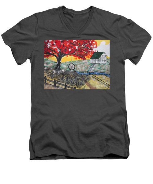 Men's V-Neck T-Shirt featuring the painting Red Maple  Swing by Jeffrey Koss