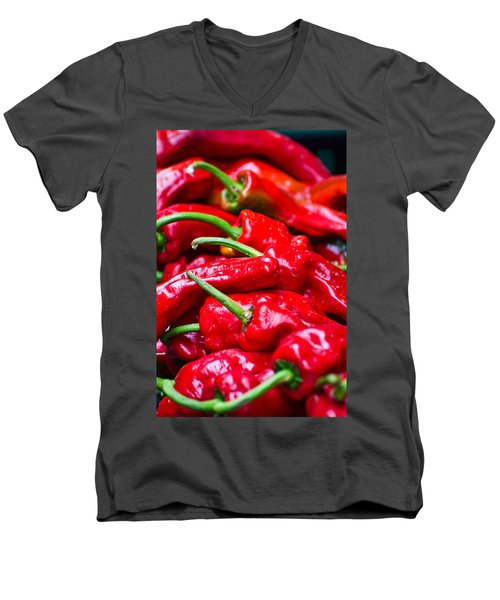 Men's V-Neck T-Shirt featuring the photograph Red Peppers by Don Schwartz