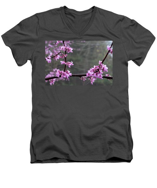 Redbud With Webs And Dew Men's V-Neck T-Shirt