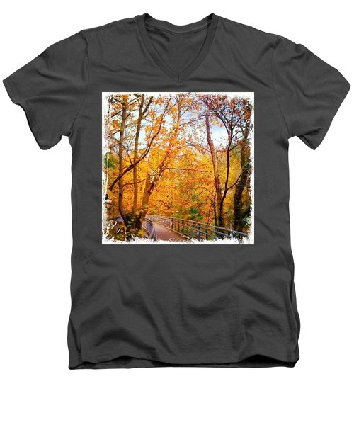 Reed College Canyon Bridge To Campus Men's V-Neck T-Shirt by Anna Porter