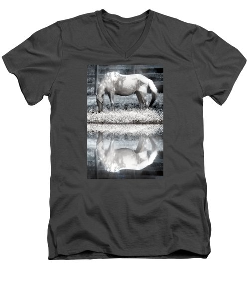 Men's V-Neck T-Shirt featuring the digital art Reflecting Dreams by Mary Almond
