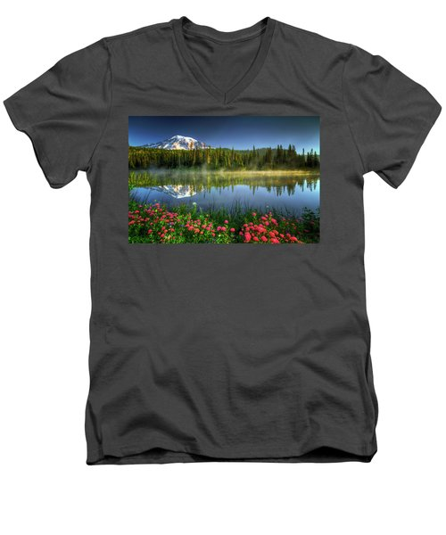 Men's V-Neck T-Shirt featuring the photograph Reflection Lakes by William Lee