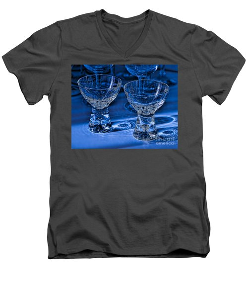 Reflections In Blue Men's V-Neck T-Shirt by Ari Salmela