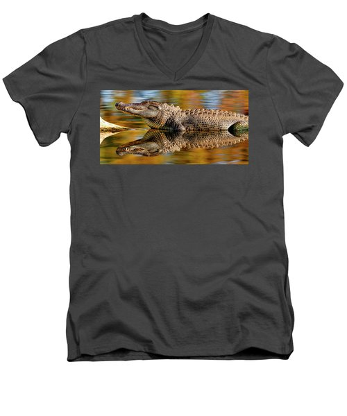 Relection Of An Alligator Men's V-Neck T-Shirt