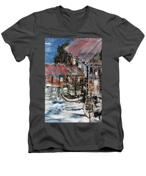 Men's V-Neck T-Shirt featuring the painting Resting by Evelina Popilian
