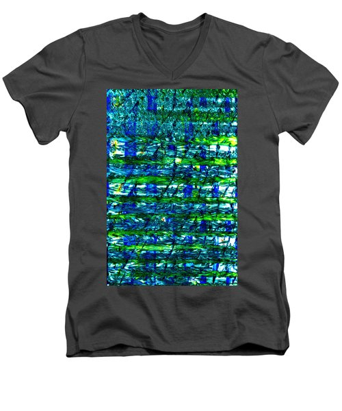 Men's V-Neck T-Shirt featuring the mixed media Rice Harvest by Terence Morrissey