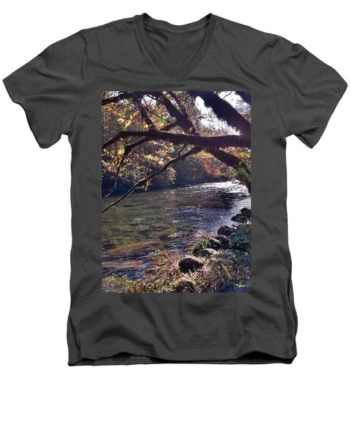 Men's V-Neck T-Shirt featuring the photograph Rivee View by Janice Spivey