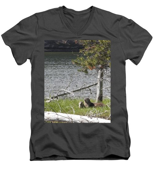 Men's V-Neck T-Shirt featuring the photograph River Otter by Belinda Greb