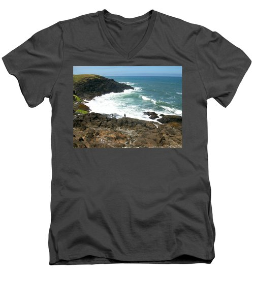 Rocky Ocean Coast Men's V-Neck T-Shirt