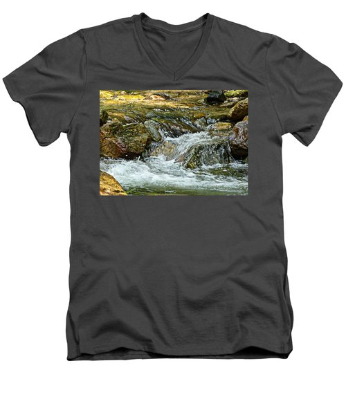 Men's V-Neck T-Shirt featuring the photograph Rocky River by Lydia Holly