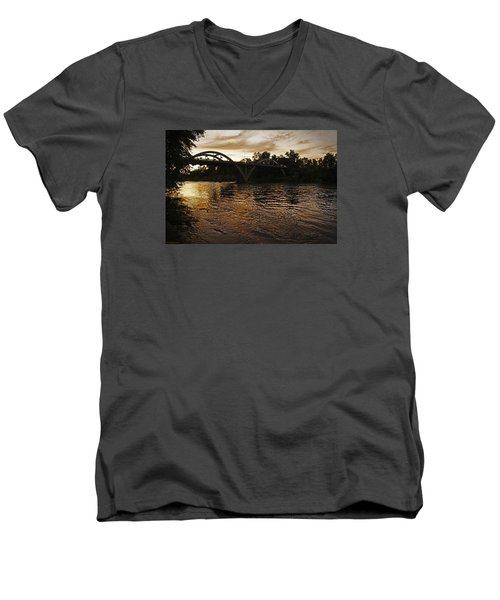 Rogue River Sunset Men's V-Neck T-Shirt by Mick Anderson