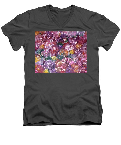 Men's V-Neck T-Shirt featuring the painting Rose Festival by Alys Caviness-Gober