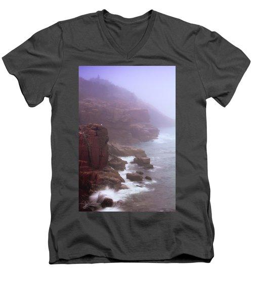 Rugged Seacoast In Mist Men's V-Neck T-Shirt