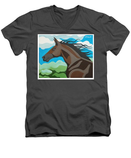 Running Horse Men's V-Neck T-Shirt