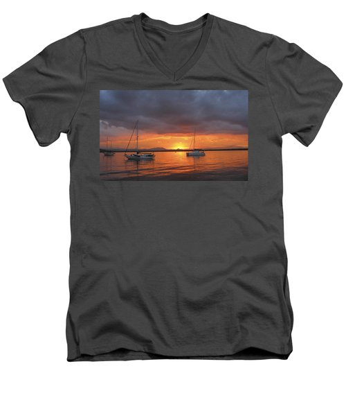 Men's V-Neck T-Shirt featuring the digital art Sailboats At Anchor by Anne Mott