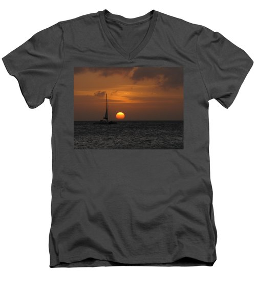Men's V-Neck T-Shirt featuring the photograph Sailing Away by David Gleeson