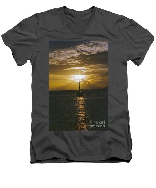 Sailing Sunset Men's V-Neck T-Shirt by William Norton