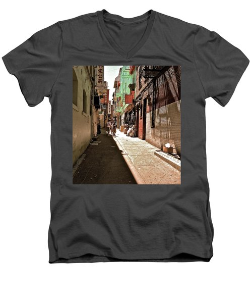 Men's V-Neck T-Shirt featuring the photograph San Fran Chinatown Alley by Bill Owen
