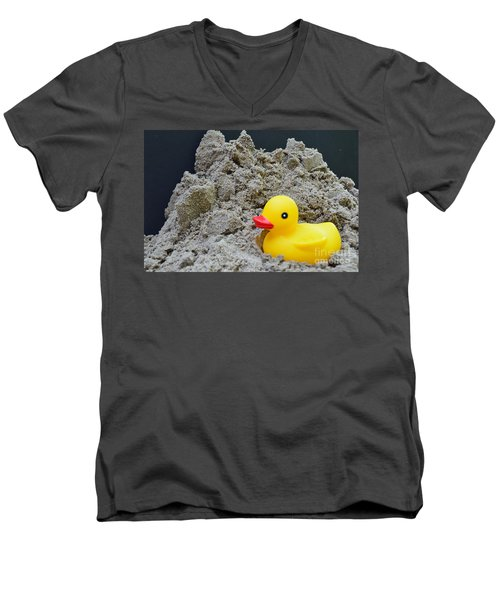 Sand Pile And Ducky Men's V-Neck T-Shirt by Randy J Heath