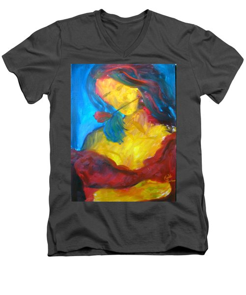 Men's V-Neck T-Shirt featuring the painting Sangria Dreams by Keith Thue