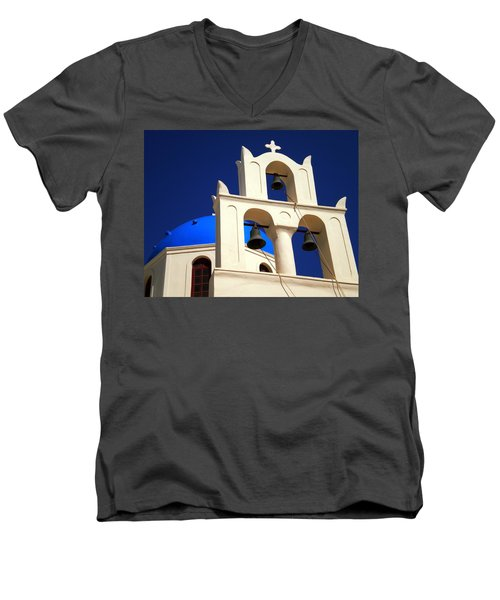 Men's V-Neck T-Shirt featuring the photograph santorini Church Greee by Colette V Hera  Guggenheim