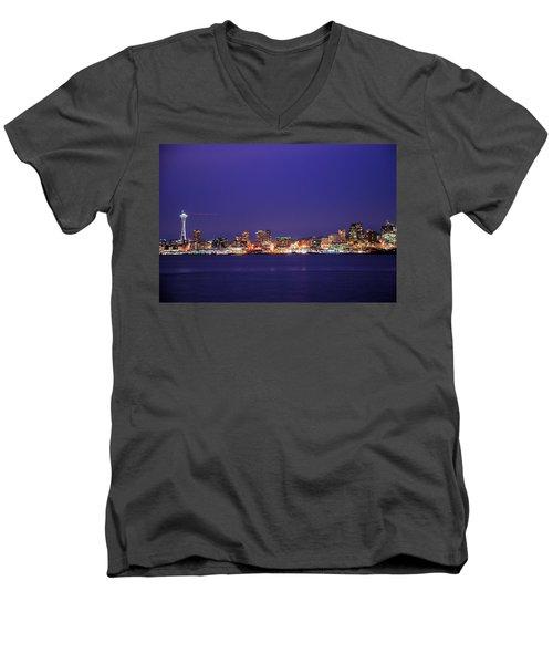 Seattle At Dusk Men's V-Neck T-Shirt