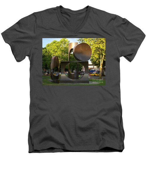 Men's V-Neck T-Shirt featuring the photograph Seattle Sculpture by Chalet Roome-Rigdon