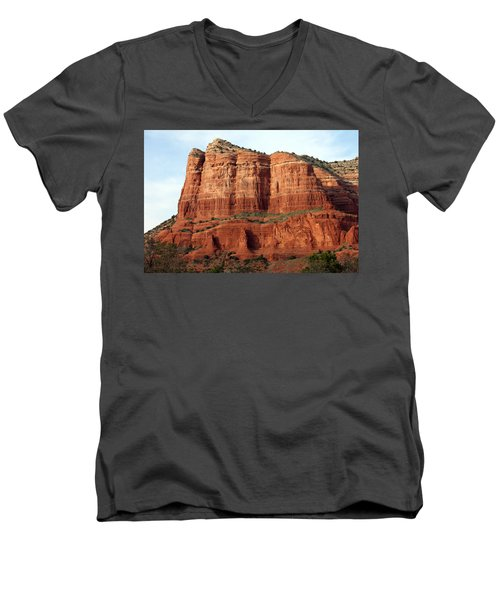 Sedona Red Men's V-Neck T-Shirt by Debbie Hart