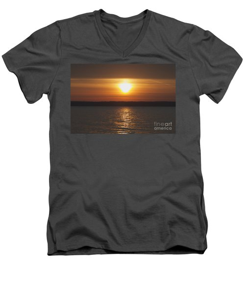 Men's V-Neck T-Shirt featuring the photograph Seneca Lake Sunrise by William Norton