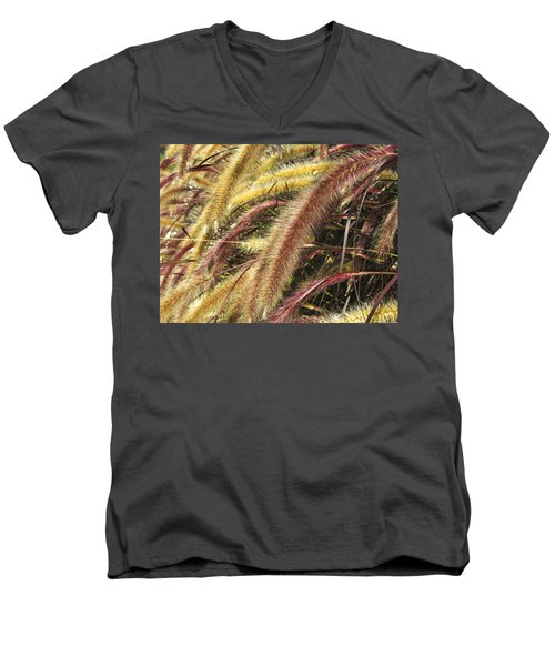 Men's V-Neck T-Shirt featuring the digital art Setaria Italica Red Jewel - Red Bristle Grass by Anne Mott