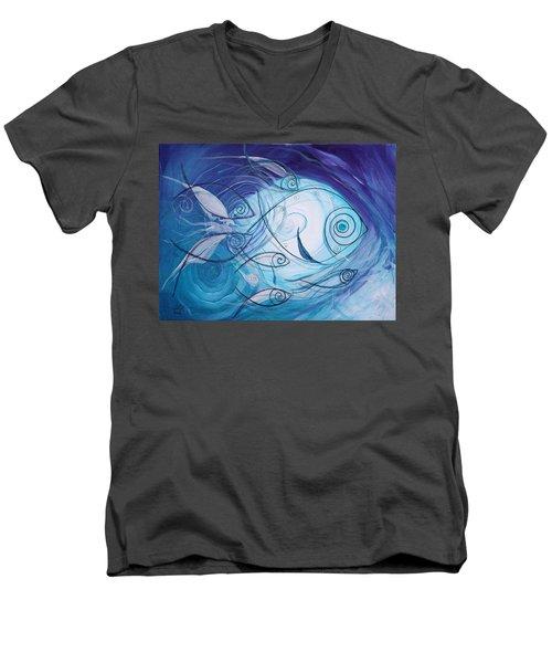 Seven Ichthus And A Heart Men's V-Neck T-Shirt