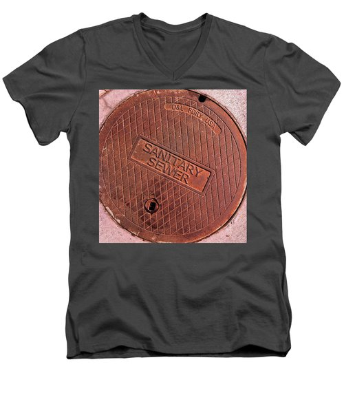 Men's V-Neck T-Shirt featuring the photograph Sewer Cover by Bill Owen