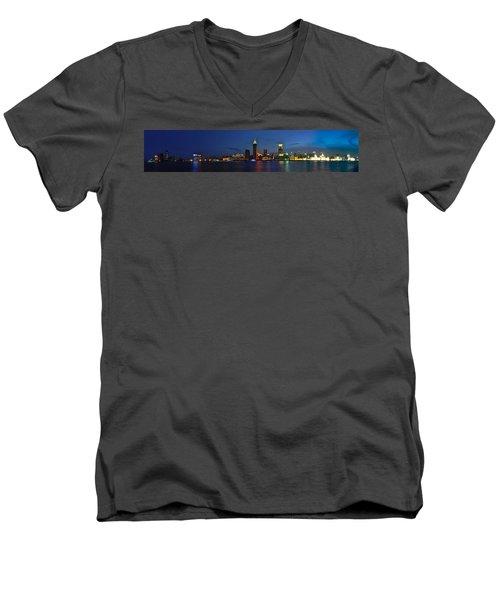 Shanghai Bund Panorama - Night Men's V-Neck T-Shirt