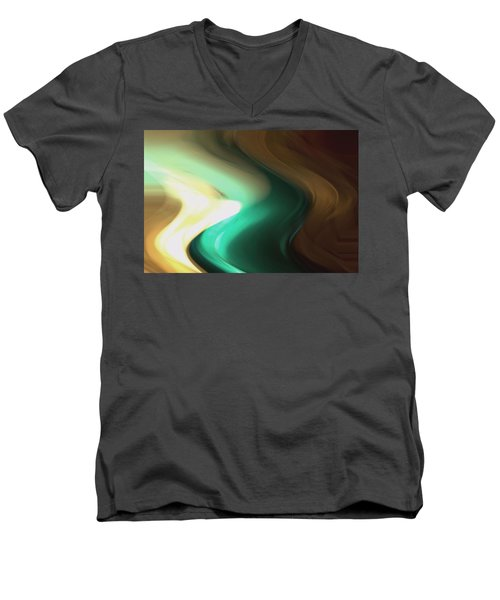 Men's V-Neck T-Shirt featuring the mixed media Sine Of Ninety by Terence Morrissey