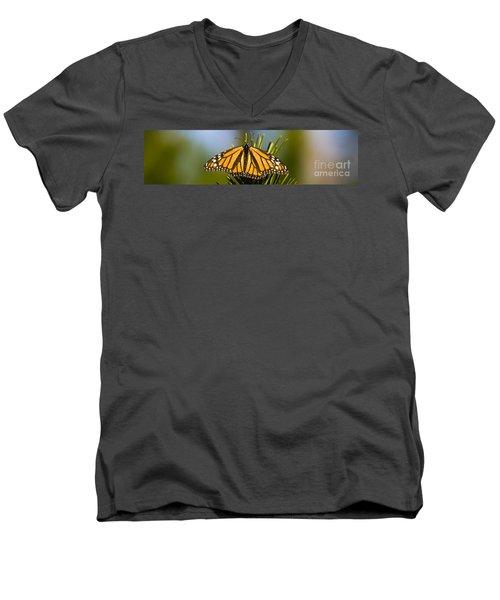 Single Monarch Butterfly Men's V-Neck T-Shirt by Darcy Michaelchuk