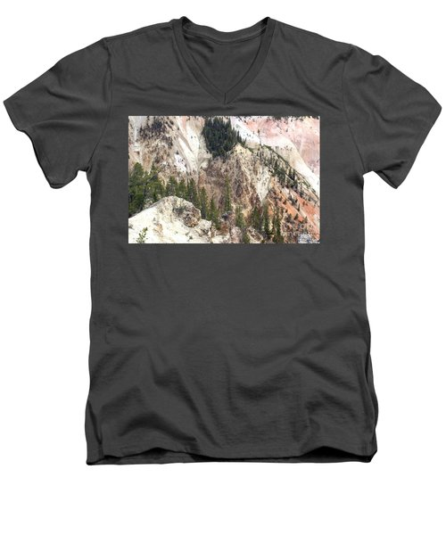 Men's V-Neck T-Shirt featuring the photograph Sit For A Spell At Grand Canyon In Yellowstone by Living Color Photography Lorraine Lynch
