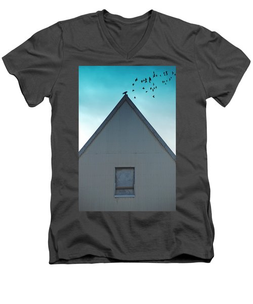Men's V-Neck T-Shirt featuring the photograph Sitting On The Peak by Kathleen Grace