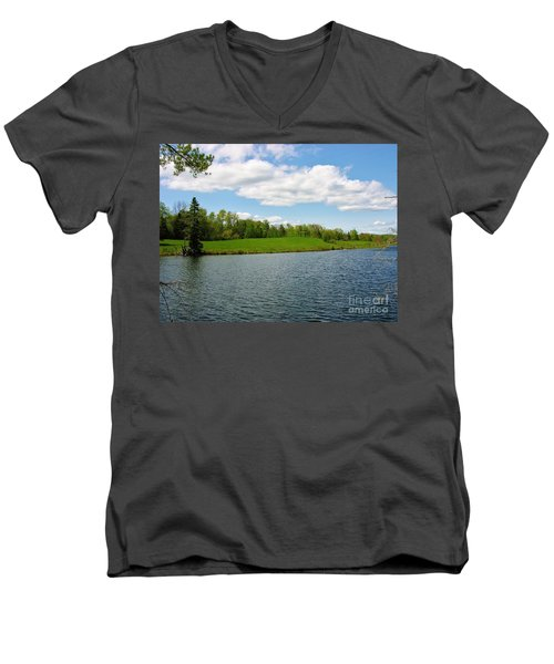 Men's V-Neck T-Shirt featuring the photograph Sky And Water Almost Meet by Sherman Perry