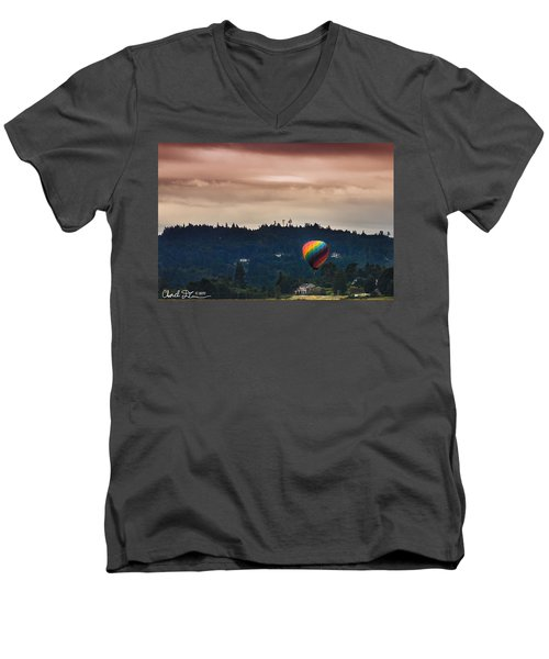 Snohomish Baloon Ride Men's V-Neck T-Shirt by Charlie Duncan