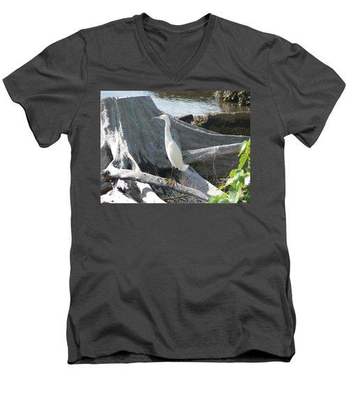 Men's V-Neck T-Shirt featuring the photograph Snowy Egret by Laurel Best