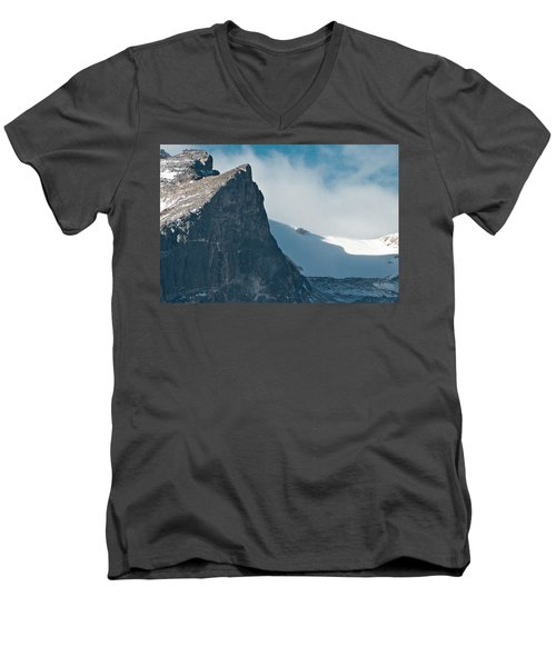 Men's V-Neck T-Shirt featuring the photograph Snowy Flatirons by Colleen Coccia