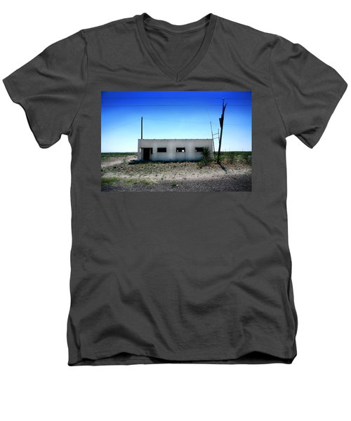 Men's V-Neck T-Shirt featuring the photograph Somewhere On The Old Pecos Highway Number 1 by Lon Casler Bixby