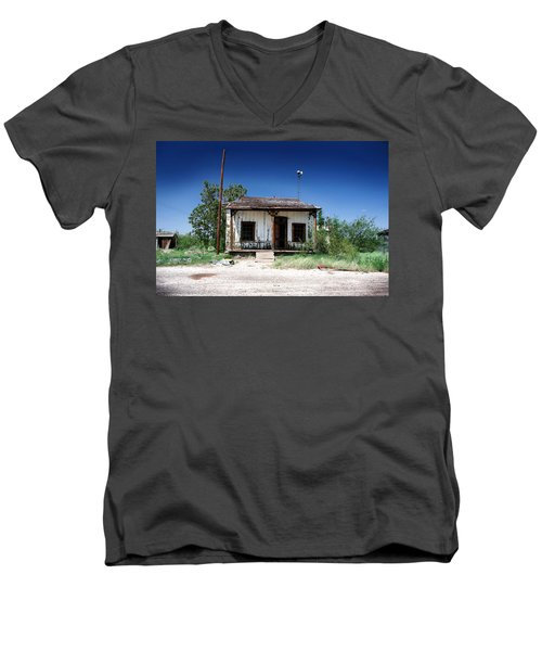 Men's V-Neck T-Shirt featuring the photograph Somewhere On The Old Pecos Highway Number 3 by Lon Casler Bixby