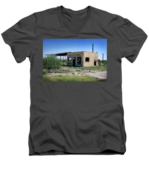 Men's V-Neck T-Shirt featuring the photograph Somewhere On The Old Pecos Highway Number 7 by Lon Casler Bixby