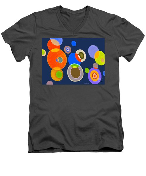 Men's V-Neck T-Shirt featuring the mixed media Somewhere Out There by Beth Saffer