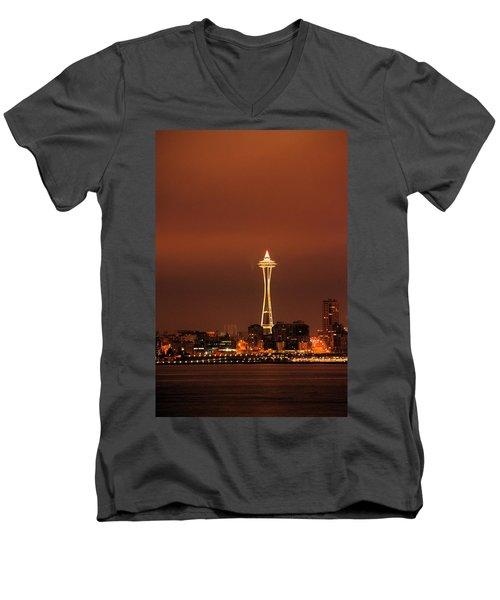 Space Needle Morning Men's V-Neck T-Shirt