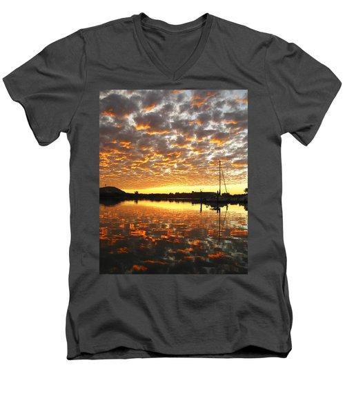 Spectacular Mazatlan Sunset Men's V-Neck T-Shirt by Anne Mott