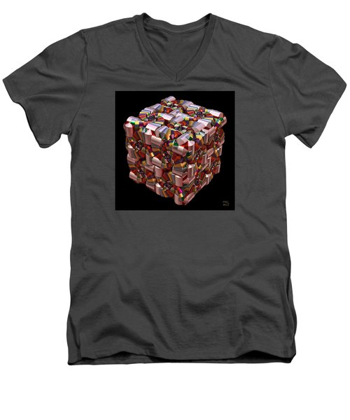 Men's V-Neck T-Shirt featuring the digital art Spiral Box I by Manny Lorenzo