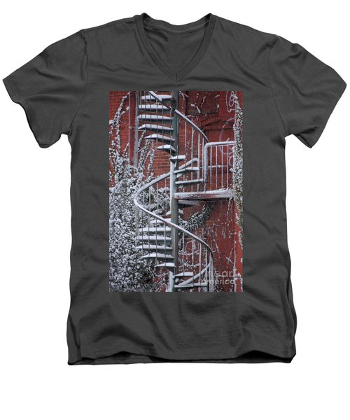 Spiral Staircase With Snow And Cooper's Hawk Men's V-Neck T-Shirt